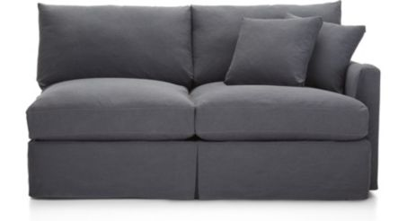 Lounge II Slipcovered Right Arm Apartment Sofa shown in Denim, Twilight
