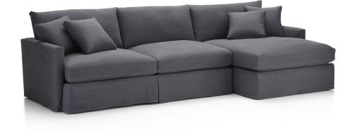 Lounge II Slipcovered 2-Piece Sectional Sofa (Right Arm Chaise, Left Arm Sofa) shown in Denim, Twilight