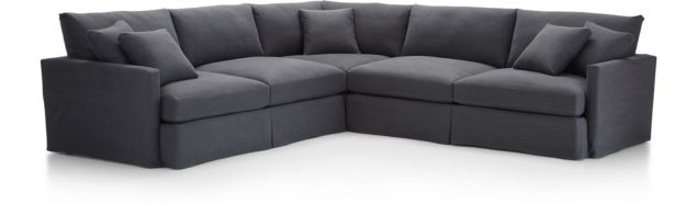 Lounge II Slipcovered 3-Piece Sectional Sofa (Left Arm Sofa, Corner, Right Arm Sofa) shown in Denim, Twilight