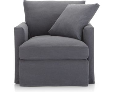 Lounge II Slipcovered 360 Swivel Chair shown in Denim, Twilight