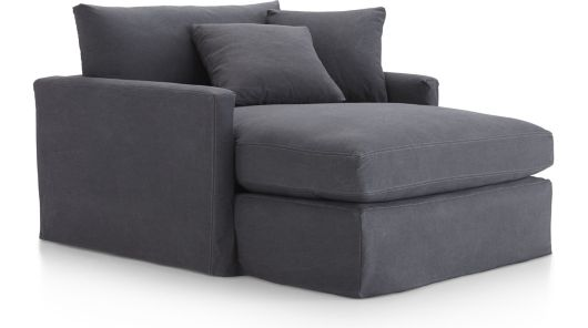 Lounge II Slipcovered Chaise shown in Denim, Twilight