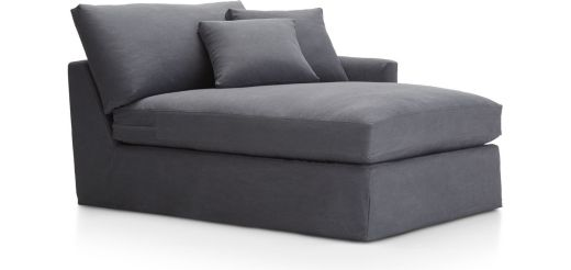 Lounge II Slipcovered Right Arm Chaise shown in Denim, Twilight