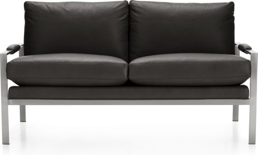 Milo Baughman ® Leather Settee shown in Groundworx, Jet