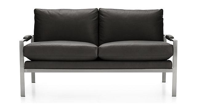 Milo Baughman ® Leather Settee shown in Groundworx, Jet