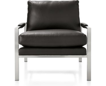 Milo Baughman ® Leather Chair shown in Groundworx, Jet