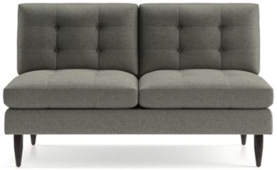Petrie Midcentury Armless Loveseat shown in Jonas, Felt Grey