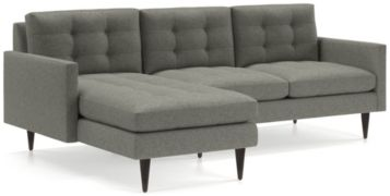 Petrie 2-Piece Left Arm Chaise Midcentury Sectional Sofa (Left Arm Chaise, Right Arm Loveseat) shown in Jonas, Felt Grey