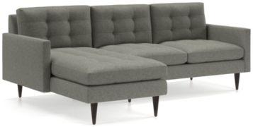 Petrie 2-Piece Left Arm Chaise Midcentury Sectional Sofa (Left Arm Chaise, Right Arm Loveseat) shown in Jonas, Felt Grey