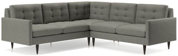 Petrie 2-Piece Corner Midcentury Sectional Sofa (Left Arm Corner Sofa, Right Arm Loveseat) shown in Jonas, Felt Grey