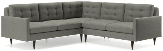 Petrie 2-Piece Corner Midcentury Sectional Sofa (Left Arm Corner Sofa, Right Arm Loveseat) shown in Jonas, Felt Grey
