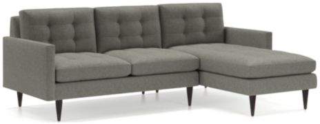 Petrie 2-Piece Right Arm Chaise Midcentury Sectional Sofa (Left Arm Loveseat, Right Arm Chaise) shown in Jonas, Felt Grey