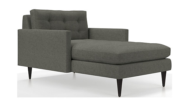 Petrie Midcentury Chaise Lounge shown in Jonas, Felt Grey