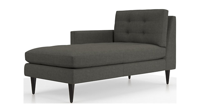 Petrie Left Arm Midcentury Chaise Lounge shown in Jonas, Charcoal