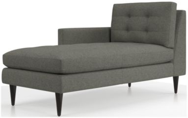 Petrie Left Arm Midcentury Chaise Lounge shown in Jonas, Felt Grey