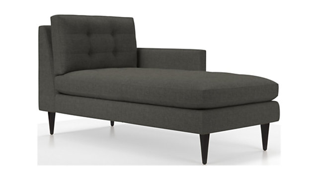 Petrie Right Arm Midcentury Chaise Lounge shown in Jonas, Charcoal