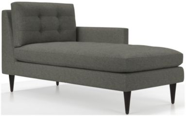 Petrie Right Arm Midcentury Chaise Lounge shown in Jonas, Felt Grey