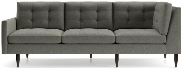 Petrie Midcentury Left Arm Corner Sofa shown in Jonas, Felt Grey
