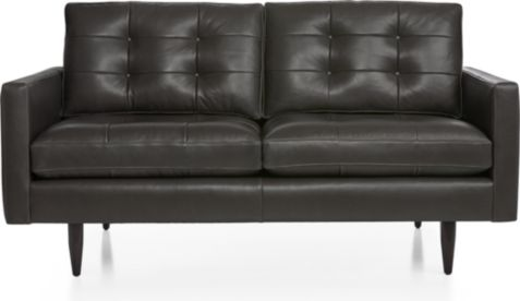 Petrie Leather Midcentury Loveseat shown in Laval, Carbon