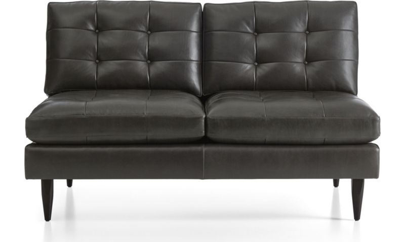 Petrie Armless Tufted Leather Loveseat In Petrie Leather