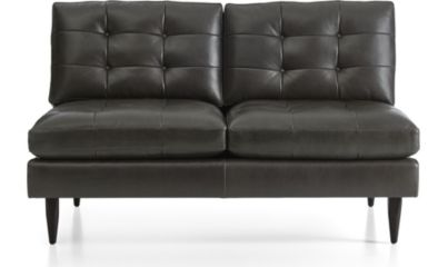 Petrie Leather Midcentury Armless Loveseat shown in Laval, Carbon