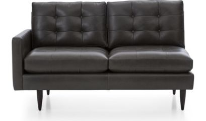 Petrie Leather Left Arm Midcentury Loveseat shown in Laval, Carbon