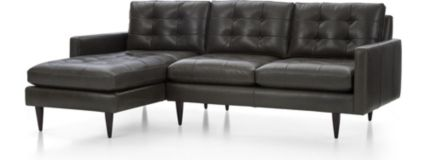 Petrie Leather 2-Piece Left Arm Chaise Midcentury Sectional Sofa (Left Arm Chaise, Right Arm Loveseat) shown in Laval, Carbon