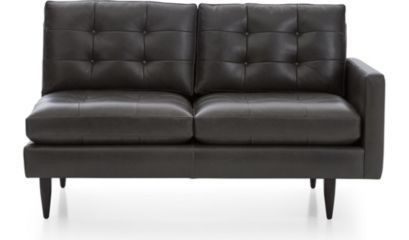 Petrie Leather Right Arm Loveseat shown in Laval, Carbon
