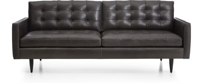 Petrie Leather Midcentury Sofa shown in Laval, Carbon