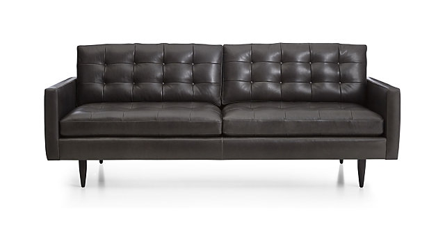 Tap To Zoom Petrie Leather Midcentury Sofa Shown In Laval Carbon