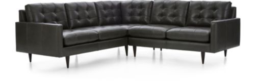 Petrie Leather 2-Piece Corner Midcentury Sectional Sofa (Left Arm Corner Sofa, Right Arm Loveseat) shown in Laval, Carbon