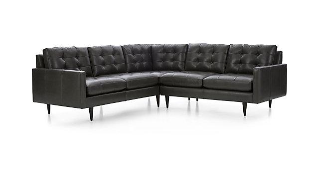 Petrie Leather 2-Piece Corner Midcentury Sectional Sofa + Reviews ...