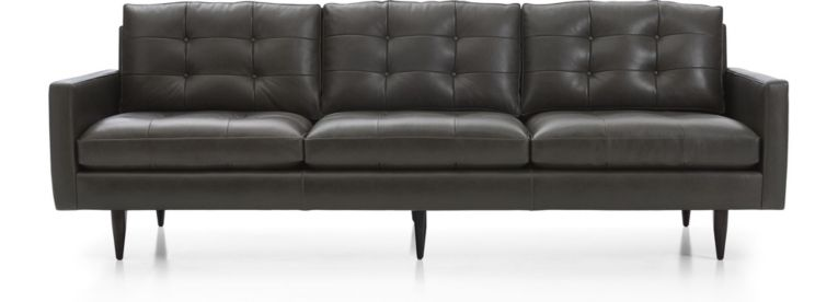 """Petrie Leather 100"""" Grande Midcentury Sofa shown in Laval, Carbon"""