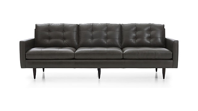 "Petrie Leather 100"" Grande Midcentury Sofa shown in Laval, Carbon"