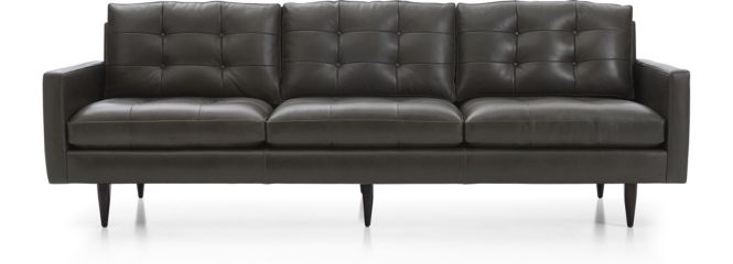 """Petrie Leather 100"""" Grande Sofa shown in Laval, Carbon"""