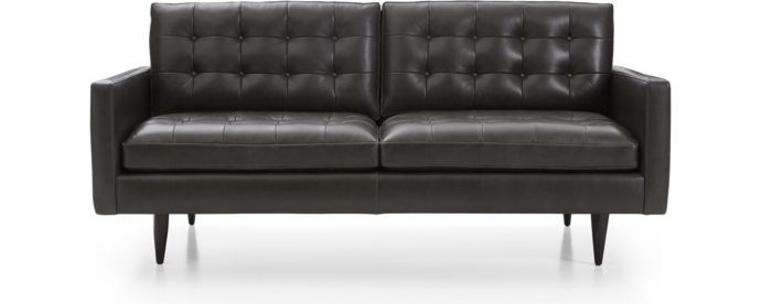 Petrie Leather Apartment Sofa shown in Laval, Carbon