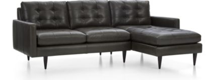 Petrie Leather 2-Piece Right Arm Chaise Midcentury Sectional Sofa (Left Arm Loveseat, Right Arm Chaise) shown in Laval, Carbon
