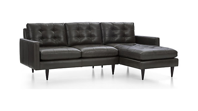 Petrie Leather 2-Piece Right Arm Chaise Midcentury Sectional Sofa + Reviews  | Crate and Barrel
