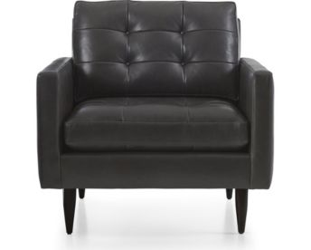 Petrie Leather Midcentury Chair shown in Laval, Carbon