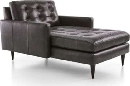 Petrie Leather Midcentury Chaise Lounge shown in Laval, Carbon