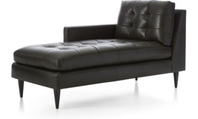 Petrie Leather Left Arm Midcentury Chaise Lounge shown in Laval, Carbon