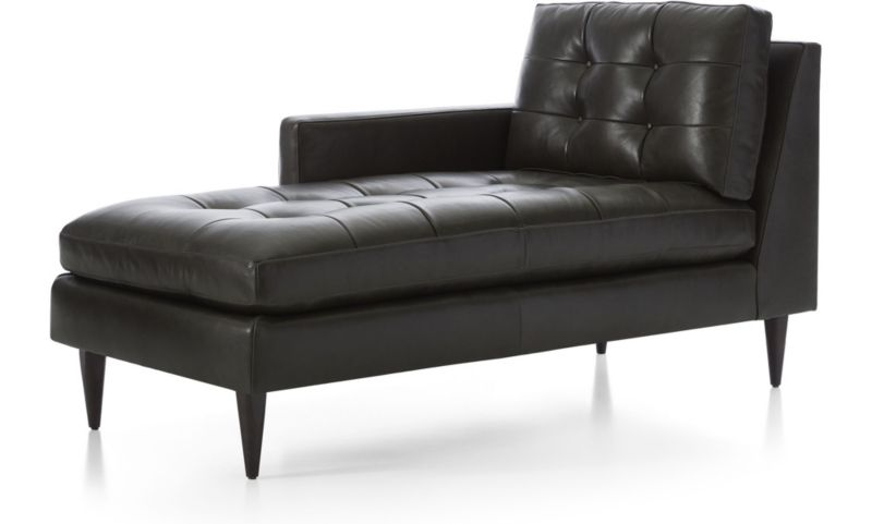 Petrie Leather Left Arm Midcentury Chaise Lounge + Reviews | Crate and  Barrel