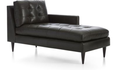 Petrie Leather Right Arm Midcentury Chaise Lounge shown in Laval, Carbon