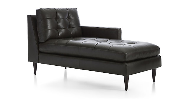 Petrie Leather Right Arm Midcentury Chaise Lounge + Reviews | Crate and  Barrel