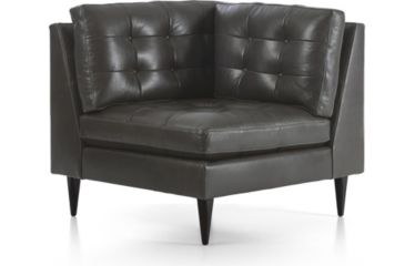 Petrie Leather Midcentury Corner Chair shown in Laval, Carbon