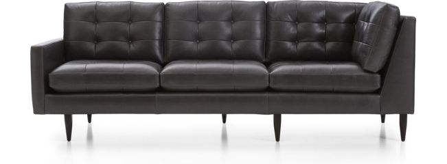 Petrie Leather Midcentury Left Arm Corner Sofa shown in Laval, Carbon