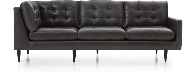 Petrie Leather Midcentury Right Arm Corner Sofa shown in Laval, Carbon