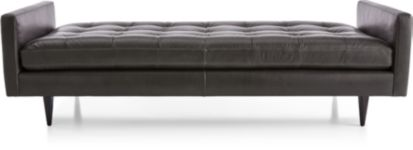 Petrie Leather Midcentury Daybed shown in Laval, Carbon