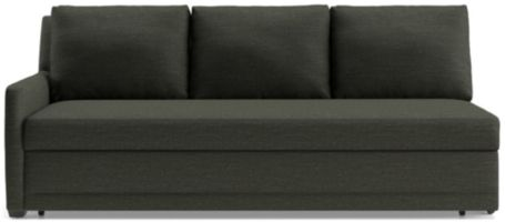 Reston Left Arm Queen Trundle Sleeper Sofa shown in Curious, Charcoal