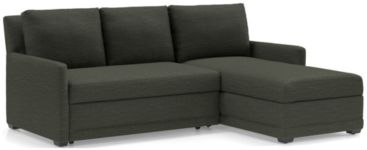 Reston 2-Piece Sectional Trundle Sleeper Sofa with Right Arm Storage Chaise(Left Arm Loveseat, Right Arm Storage Chaise) shown in Curious, Charcoal