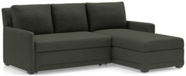 Reston 2-Piece Right Arm Chaise Trundle Sleeper Sectional Sofa (Left Arm Loveseat Sleeper Sofa, Right Arm Chaise) shown in Curious, Charcoal